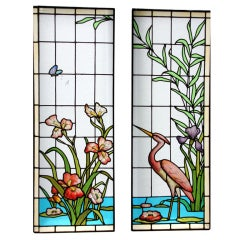 Art Nouveau Stained and Leaded Glass Window Panels Ecole de Nancy France