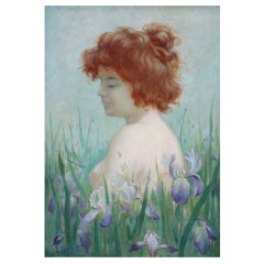 Art Nouveau oil painting of a nude with irises by Horter, 1900