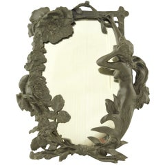 Art Nouveau Table Mirror with Lady and Flowers by R. C. Peyre, 1900.