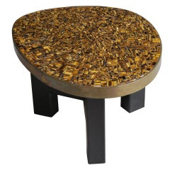 Eye's tiger mosaic end table by Ado Chale