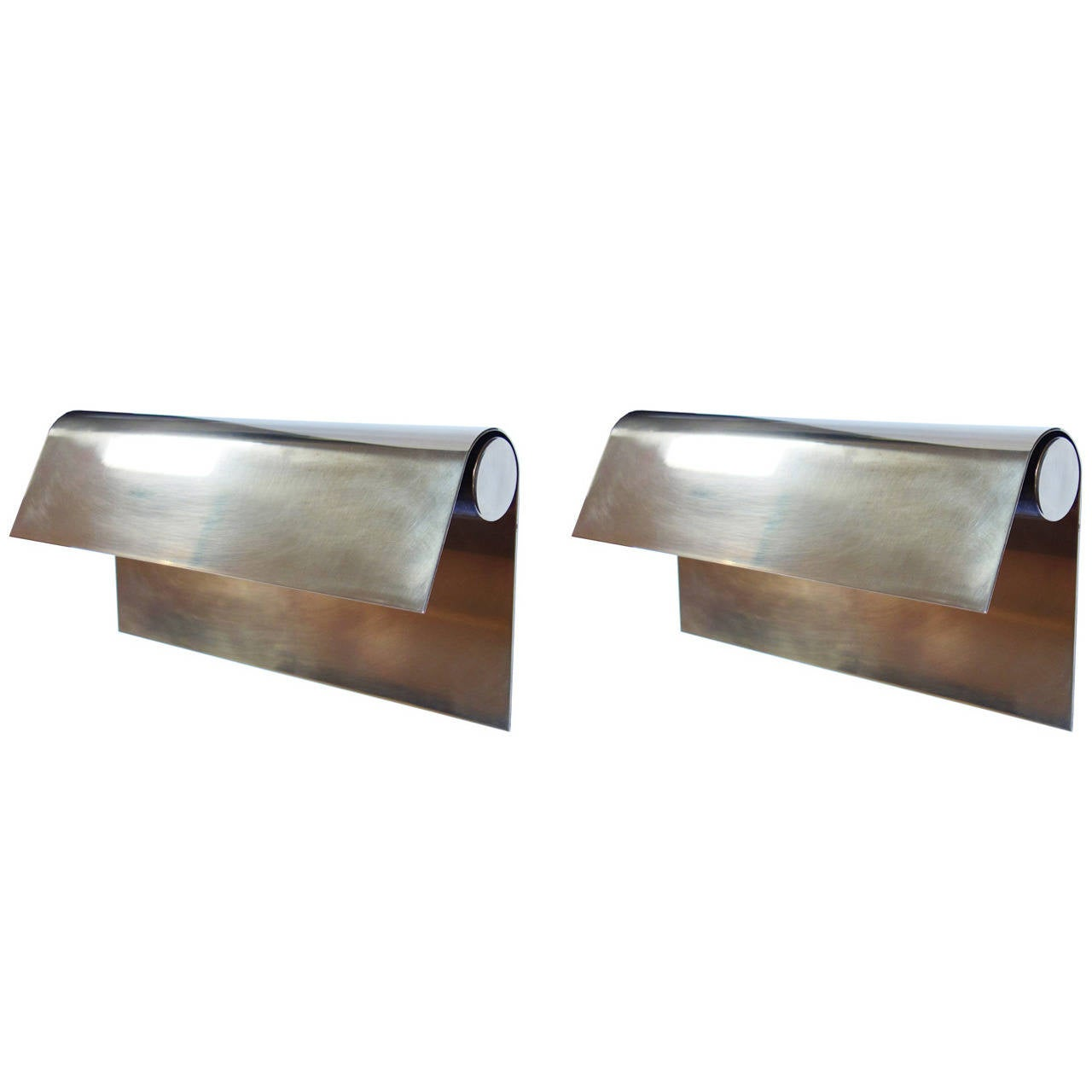 Pair of Large Brass Sconces by Christophe Gevers at 1stdibs