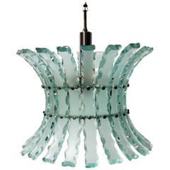 """Broken Glass"" Hanging Light Fixture in the Style of Fontana Arte"