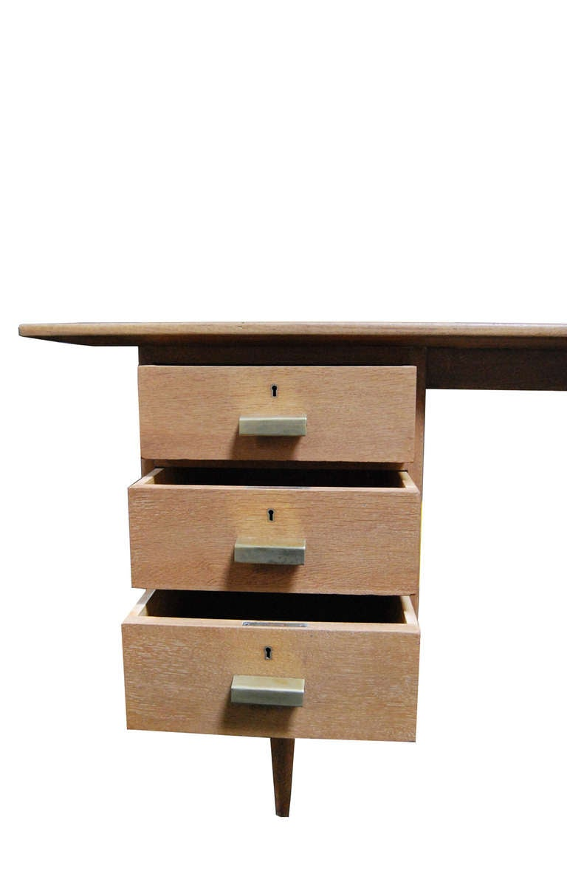 Mid-20th Century Limewashed oak desk For Sale
