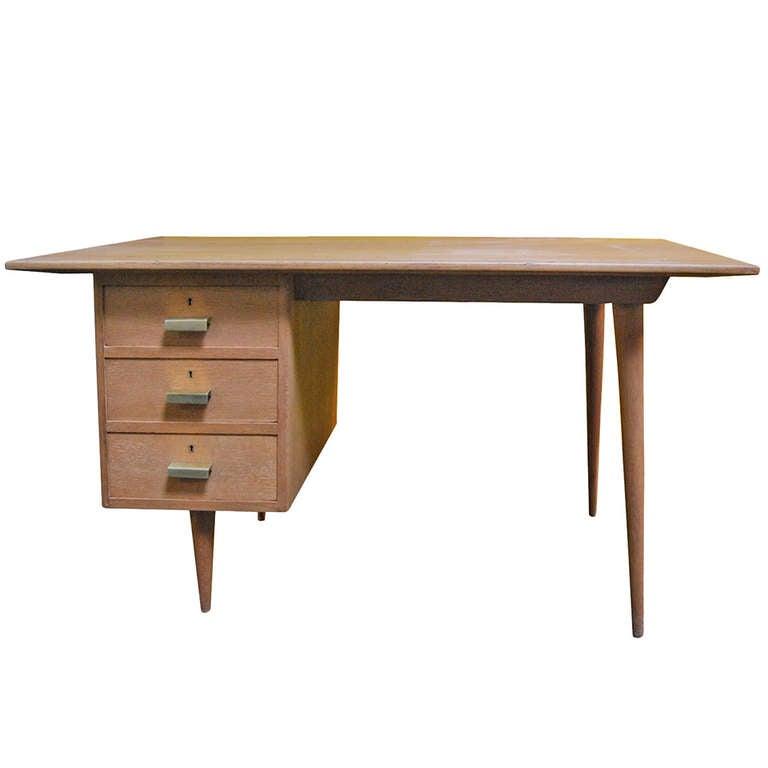 Limewashed oak desk For Sale