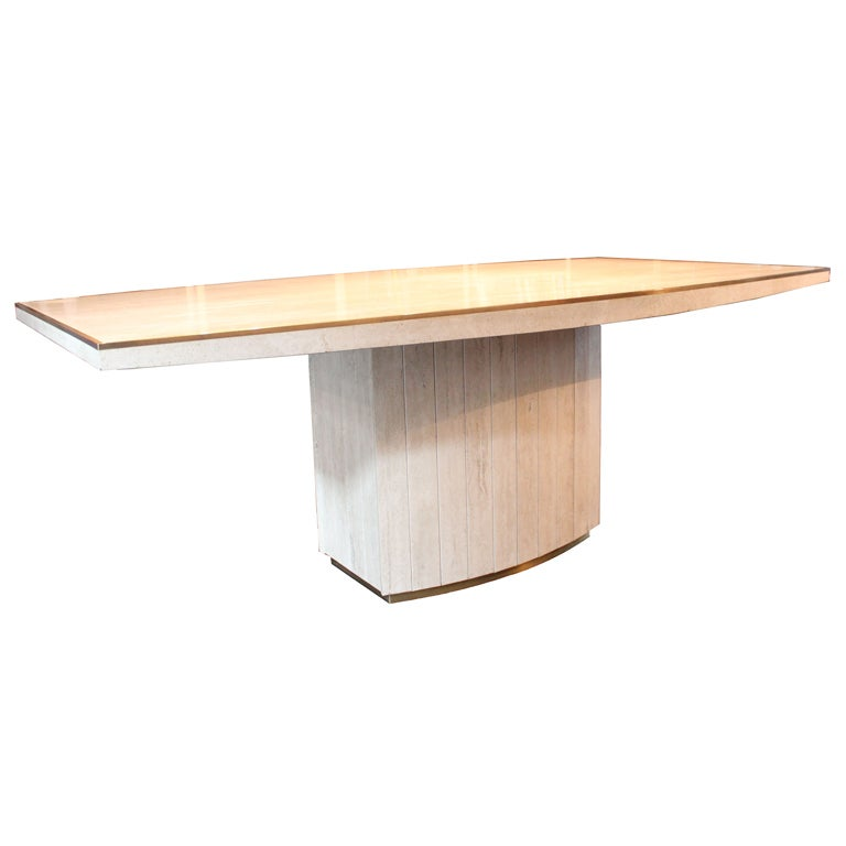 Willy rizzo travertine dining table at 1stdibs for Table willy rizzo