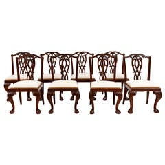 Set of Eight Antique Chinese Export Chippendale Side Chairs in Mahogany, 1850