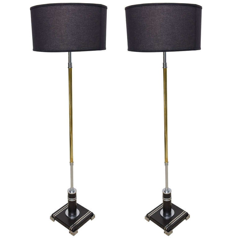 Pair of American Art Deco Floor Lamps in Polished Chrome, Brass and Black Enamel