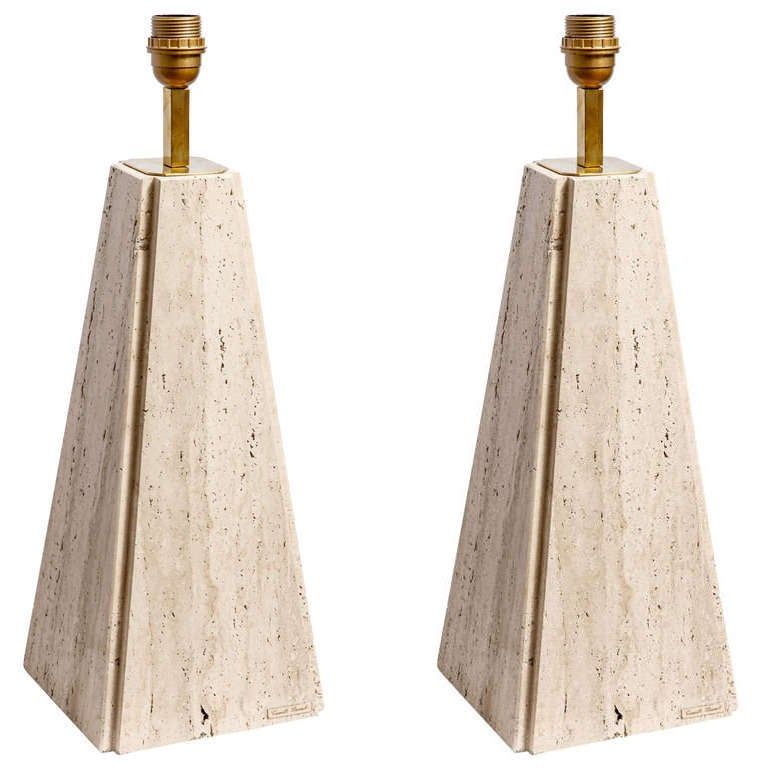 Camille Breesch Pair Of Travertin Table Lamps At 1stdibs