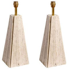 Camille Breesch - Pair of travertin table lamps
