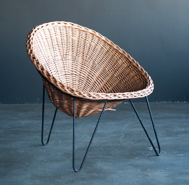 Wicker Lounge Chair in the Style of Mathieu Matégot at 1stdibs