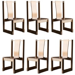 Six oak wood stacking chairs from a Dutch convent, Rietveld inspired.