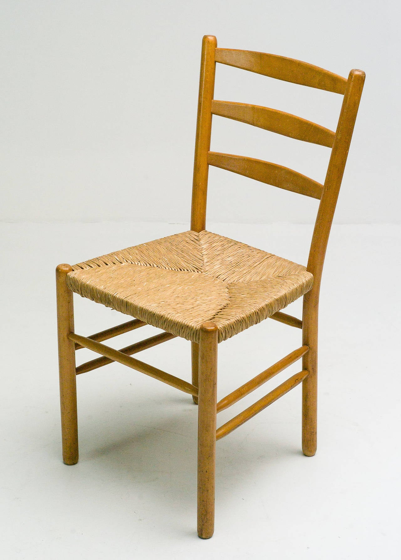Set Of Six Maple And Rush Dining Chairs By Cees Braakman For Sale At 1stdibs