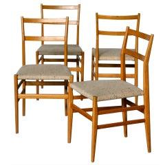 "4 ""Leggera"" chairs designed by Gio Ponti for Cassina"