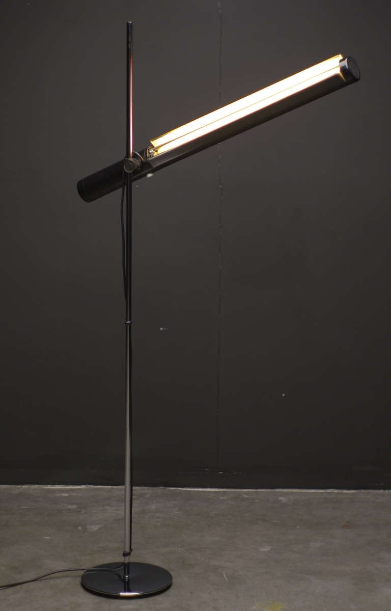 Dutch 196039s industrial fluorescent tube floor lamp at 1stdibs for Floor lamp with tube light