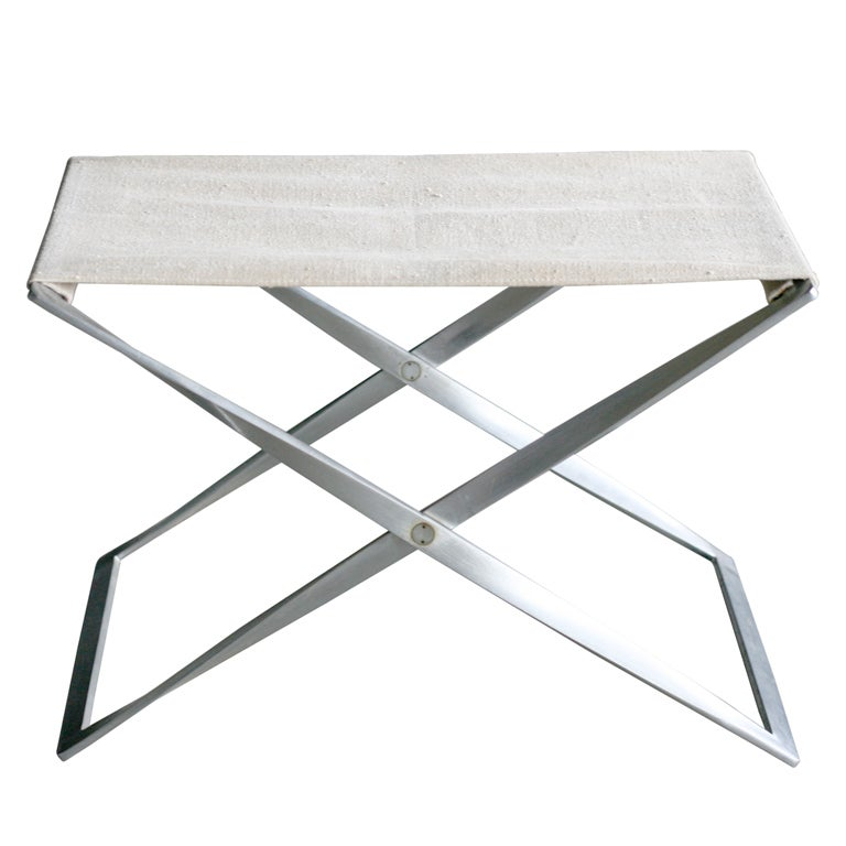 Wondrous Poul Kjaerholm Pk91 Folding Stool Canvas At 1Stdibs Camellatalisay Diy Chair Ideas Camellatalisaycom