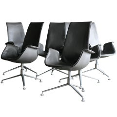 """High Back Elephant Hide Grey """"Bird"""" Chairs by Fabricius and Kastholm"""