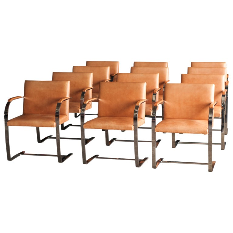 Vintage Leather Dining Chairs set of 12 knoll brno chairs in original vintage spinneybeck saddle