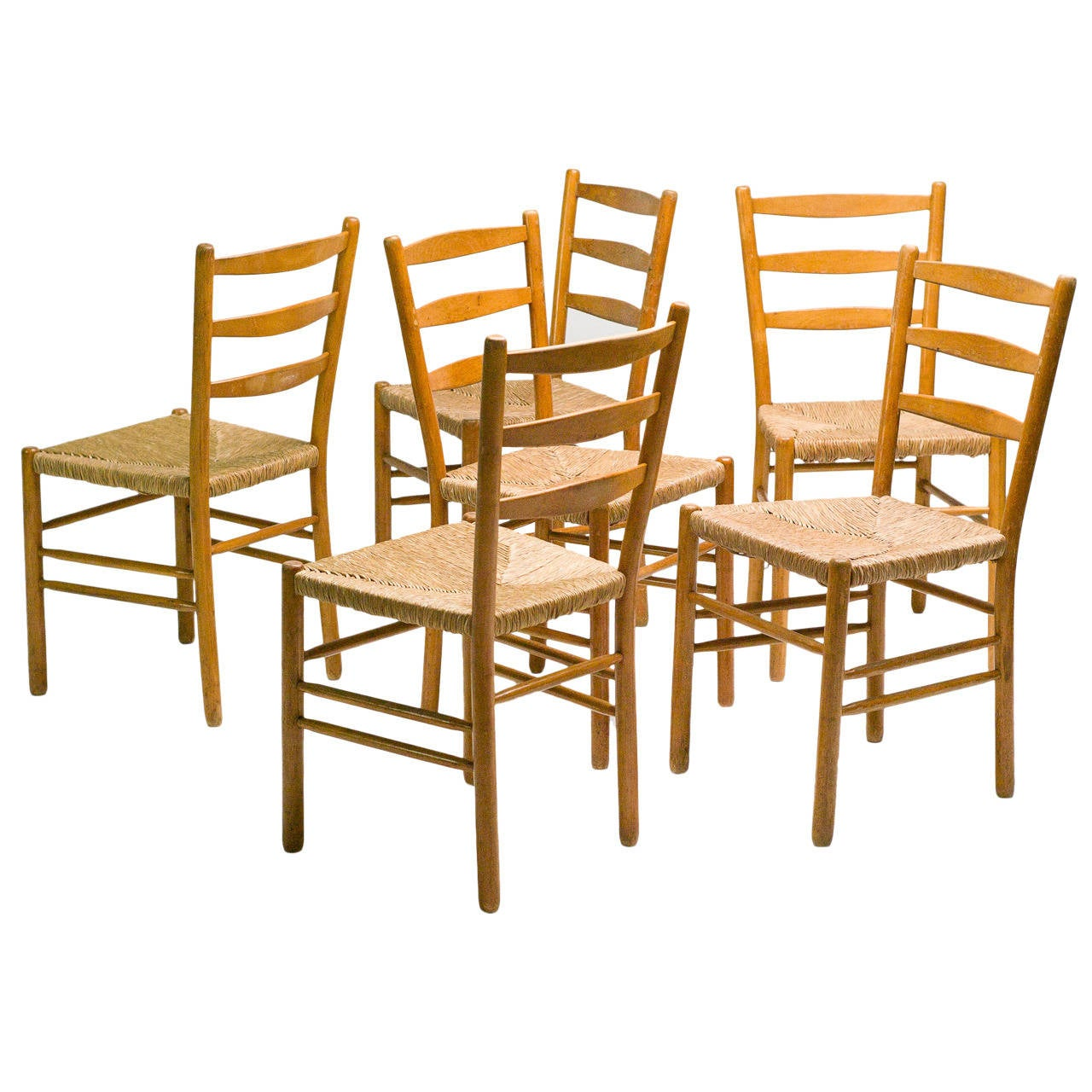 set of six maple and rush dining chairs by cees braakman at 1stdibs