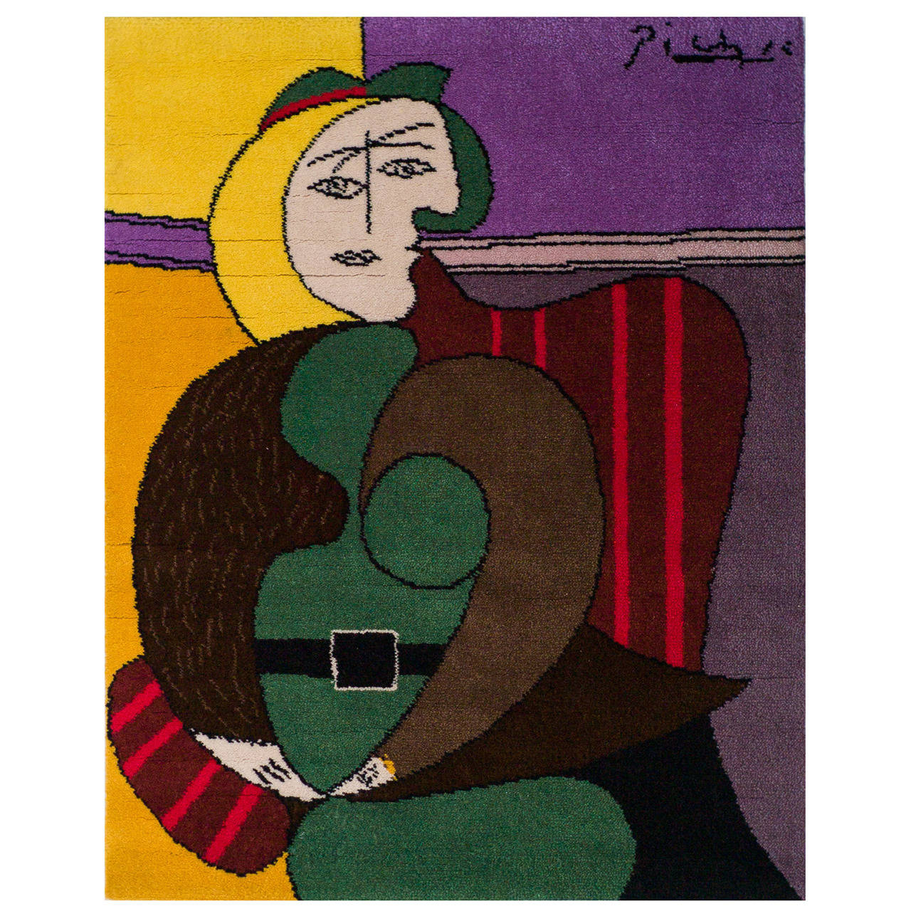 wool tapestry after a design by picasso femme assise dans un fauteuil rouge for sale at 1stdibs. Black Bedroom Furniture Sets. Home Design Ideas