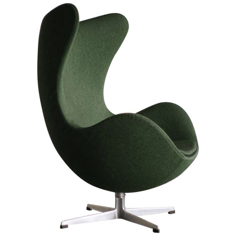 f wool chair chairs vintage furniture l jacobsen lounge original green id seating tone s egg in arne