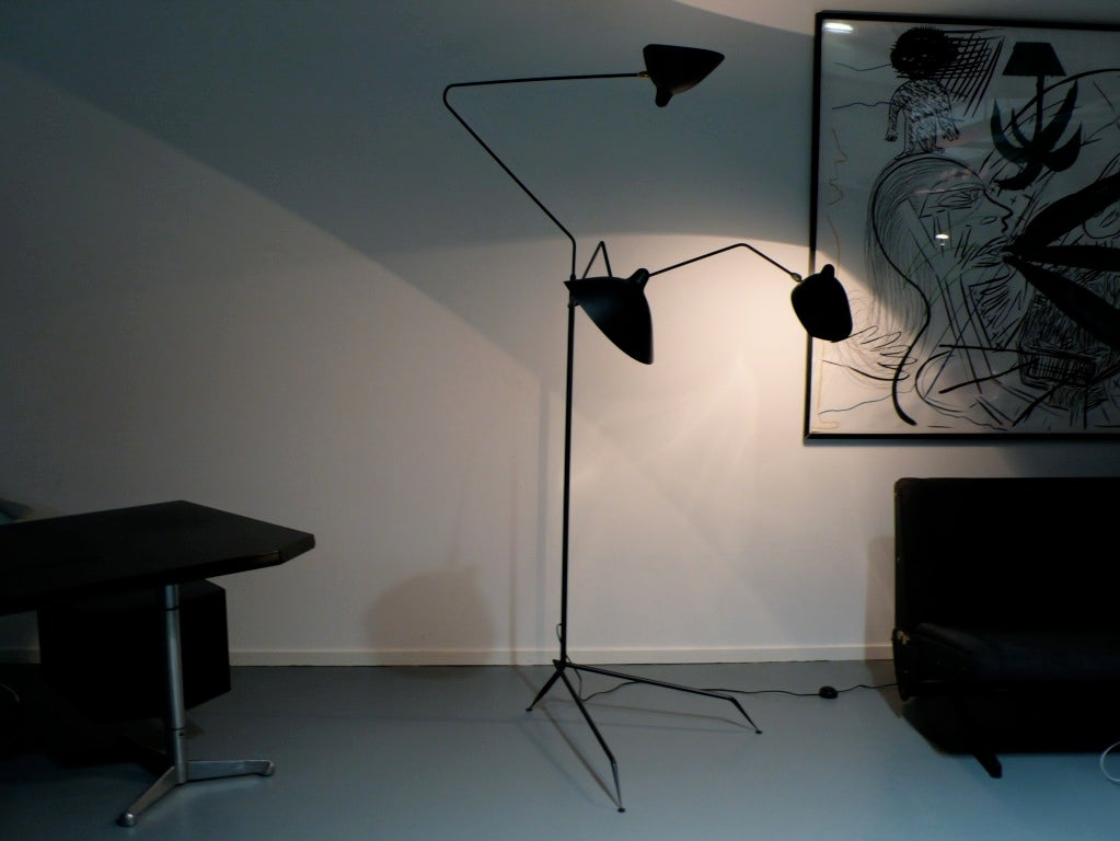 lampadaire trois bras by serge mouille at 1stdibs. Black Bedroom Furniture Sets. Home Design Ideas