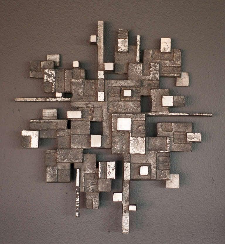 Cast aluminum wall sculpture, circa 1970 2