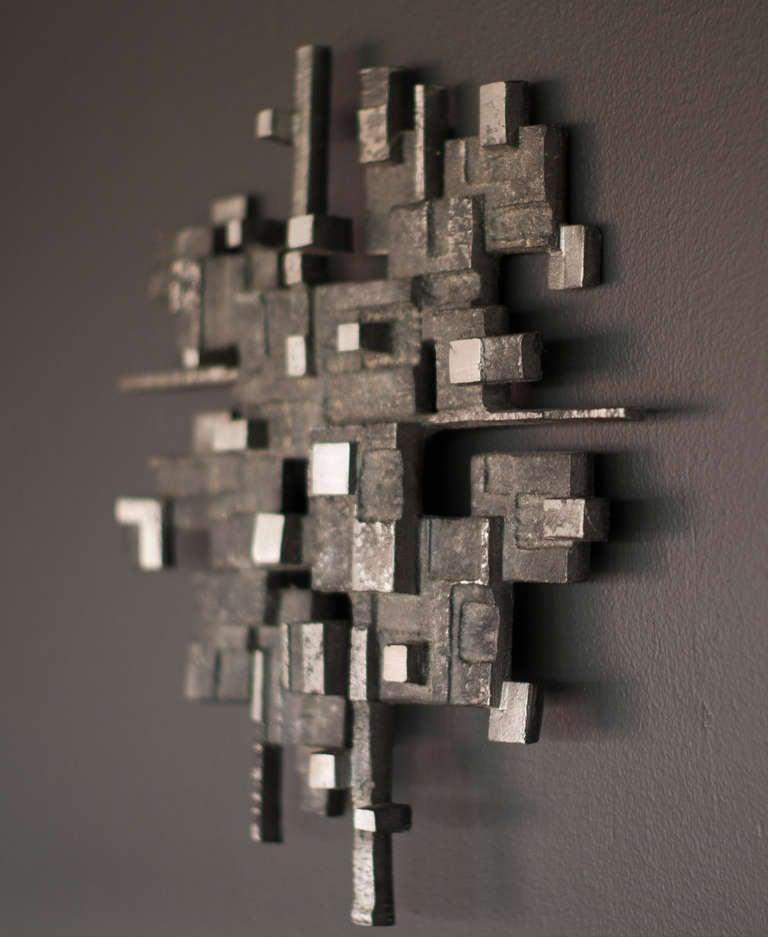 Cast aluminum wall sculpture, circa 1970 3