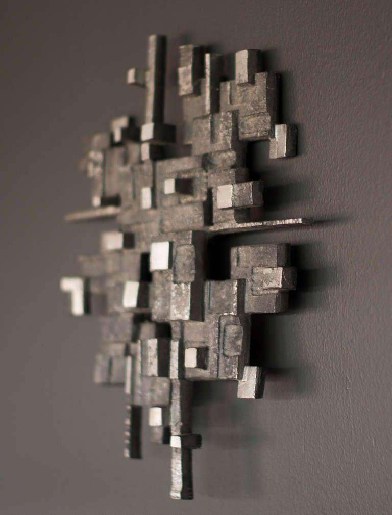 Cast aluminum wall sculpture, circa 1970 4