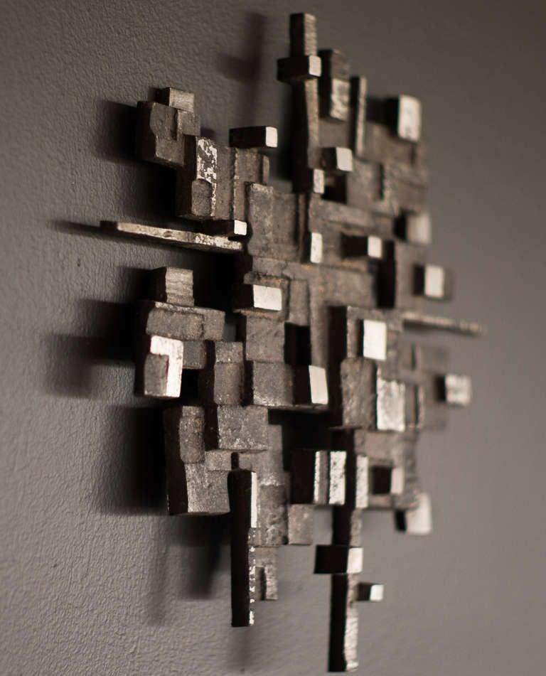 Cast aluminum wall sculpture, circa 1970 5