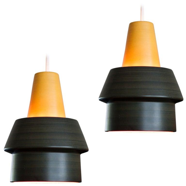 Pair Of Ceramic Pendant Lamps Designed Circa 1968 By Cari