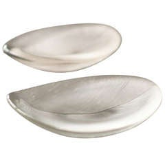 Tapio Wirkkala pair of large glass comb cut leaf bowls 1954