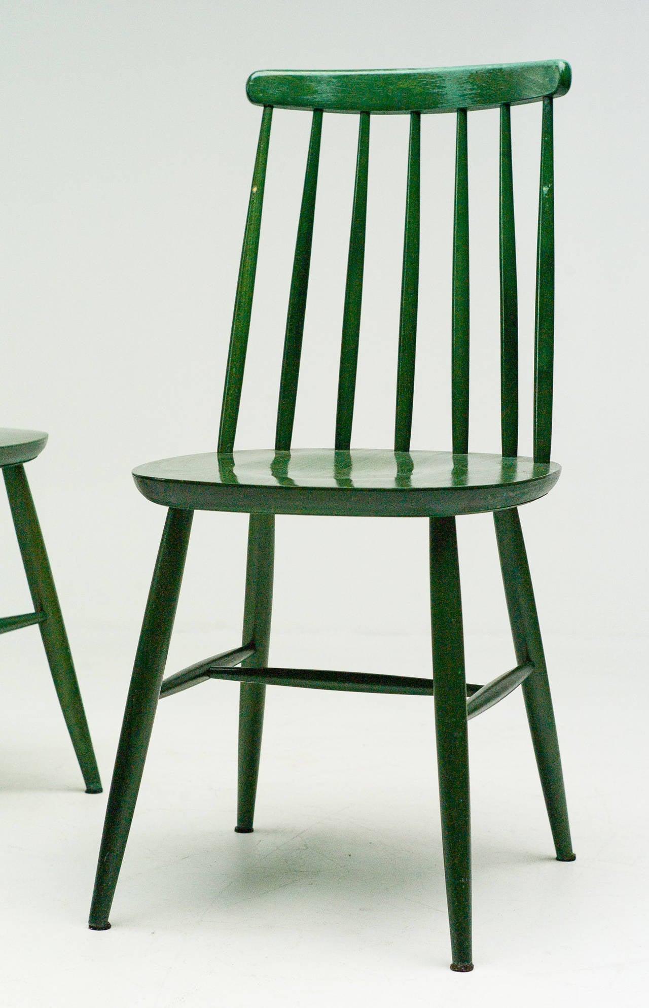 Scandinavian Modern Pair of Green Tapiovaara Chairs For Sale