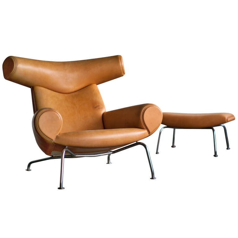 ox chair and ottoman designed by hans wegner at 1stdibs. Black Bedroom Furniture Sets. Home Design Ideas