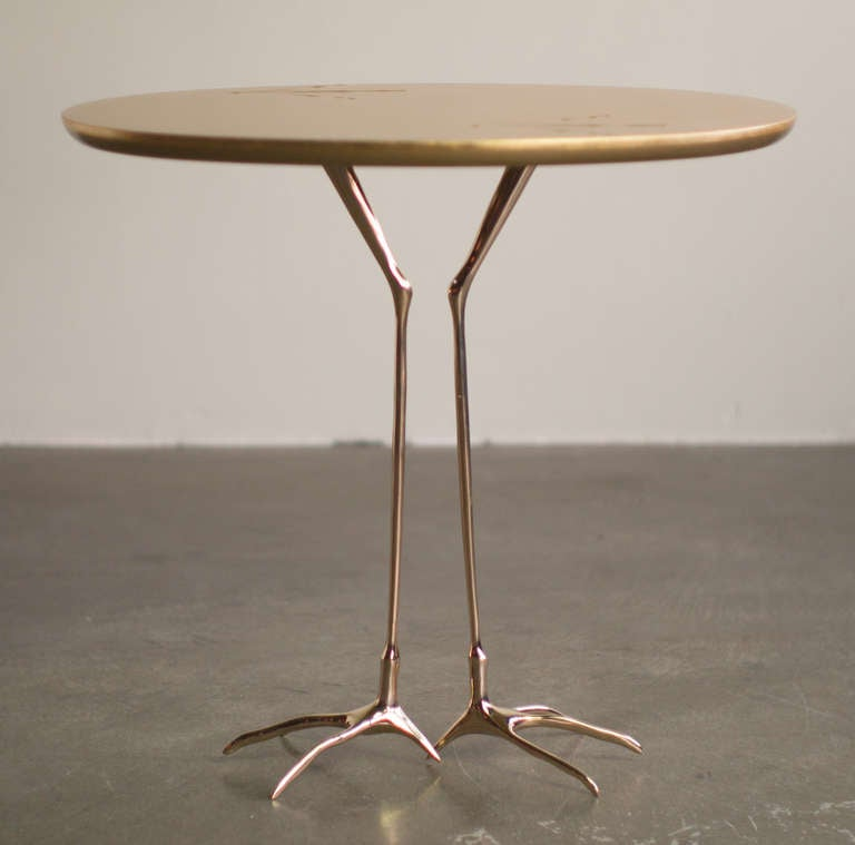 Traccia Gold Leaf Bird Leg Side Table By Meret Oppenheim