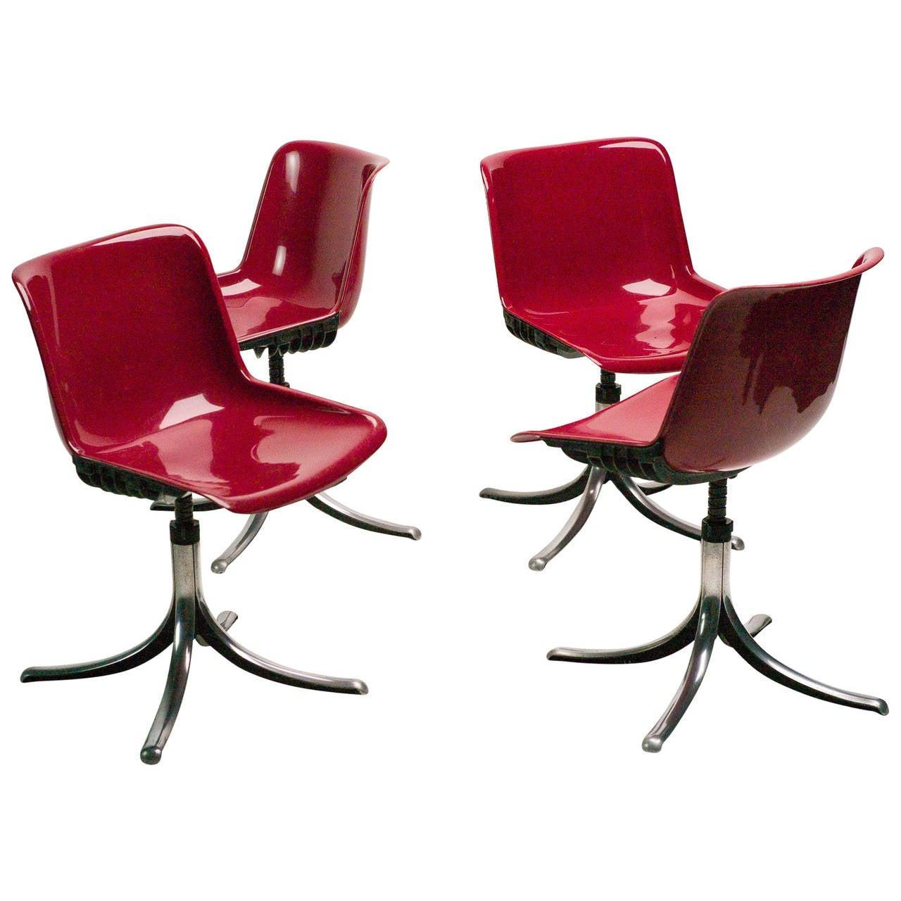 Set of Three Tecno Modus Chairs Designed by Osvaldo Borsani 1