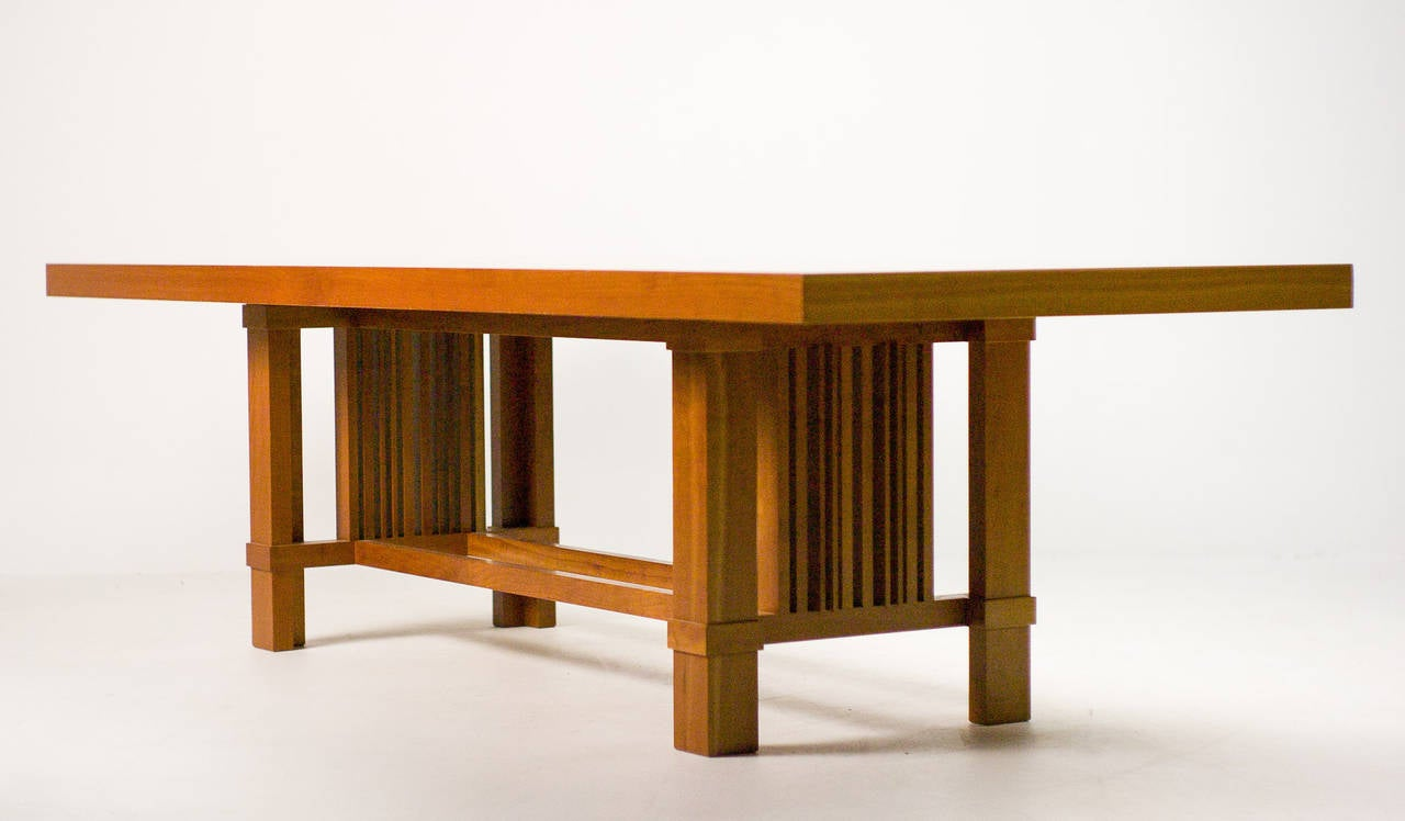 Cassina Taliesin Dining Table And Barrel Chairs Designed By Frank Lloyd Wright 2