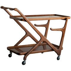 1950's tea trolley in walnut designed by Cesare Lacca for Cassina