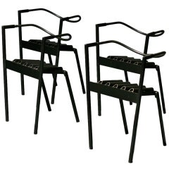 Paolo Pallucco and Mireille Rivier set of 4 Hans e Alice chairs