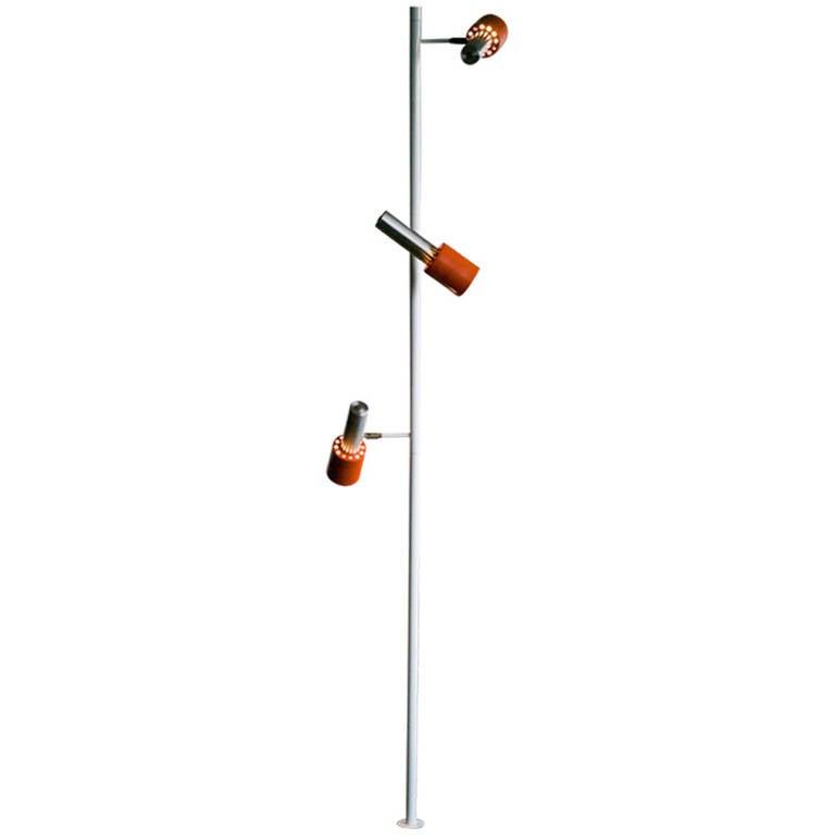 pole lamp with three adjustable light fixtures for sale at 1stdibs. Black Bedroom Furniture Sets. Home Design Ideas