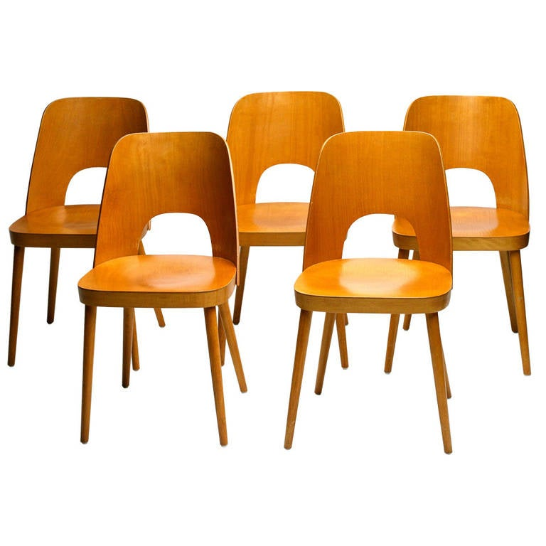 Set of Five Dining Chairs by Oswald Haerdtl for Thonet 1955 at – Thonet Dining Chair