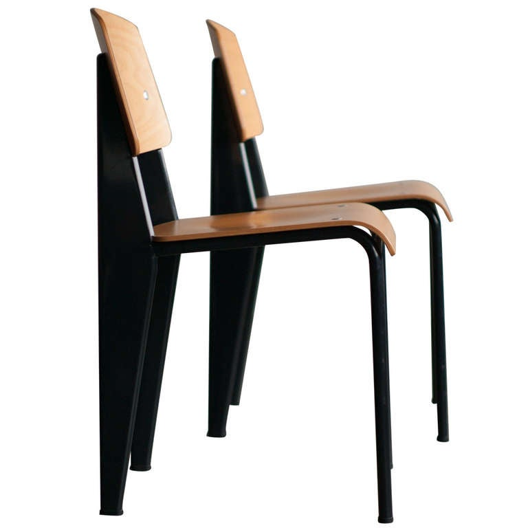 Standard chair, Jean Prouvé, first re-edition by Vitra in beech. 1