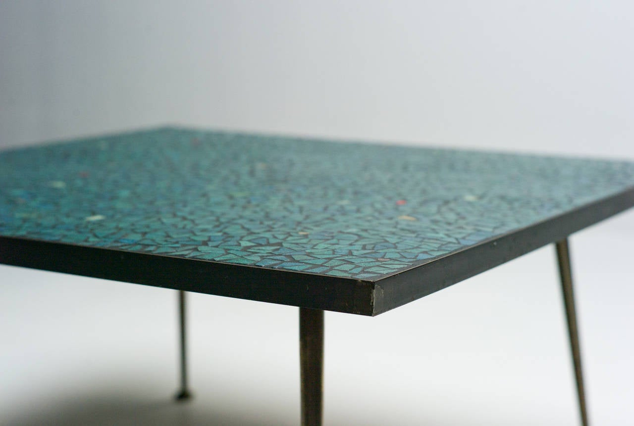 1950s Italian Mid Century Modern Mosaic Glass Tile Coffee Table With Brass  Legs 3