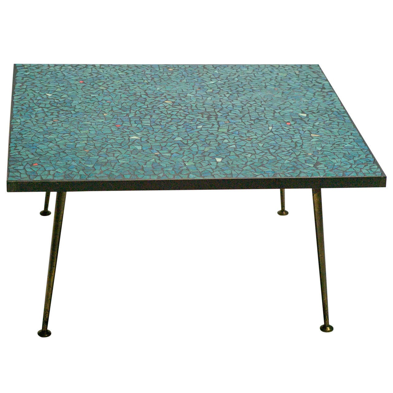 1950s Italian Mid Century Modern Mosaic Glass Tile Coffee Table With Brass Legs At 1stdibs