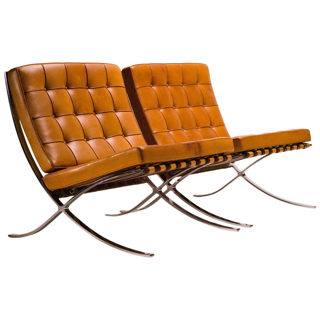 barcelona chairs in saddle leather by mies van der rohe for knoll