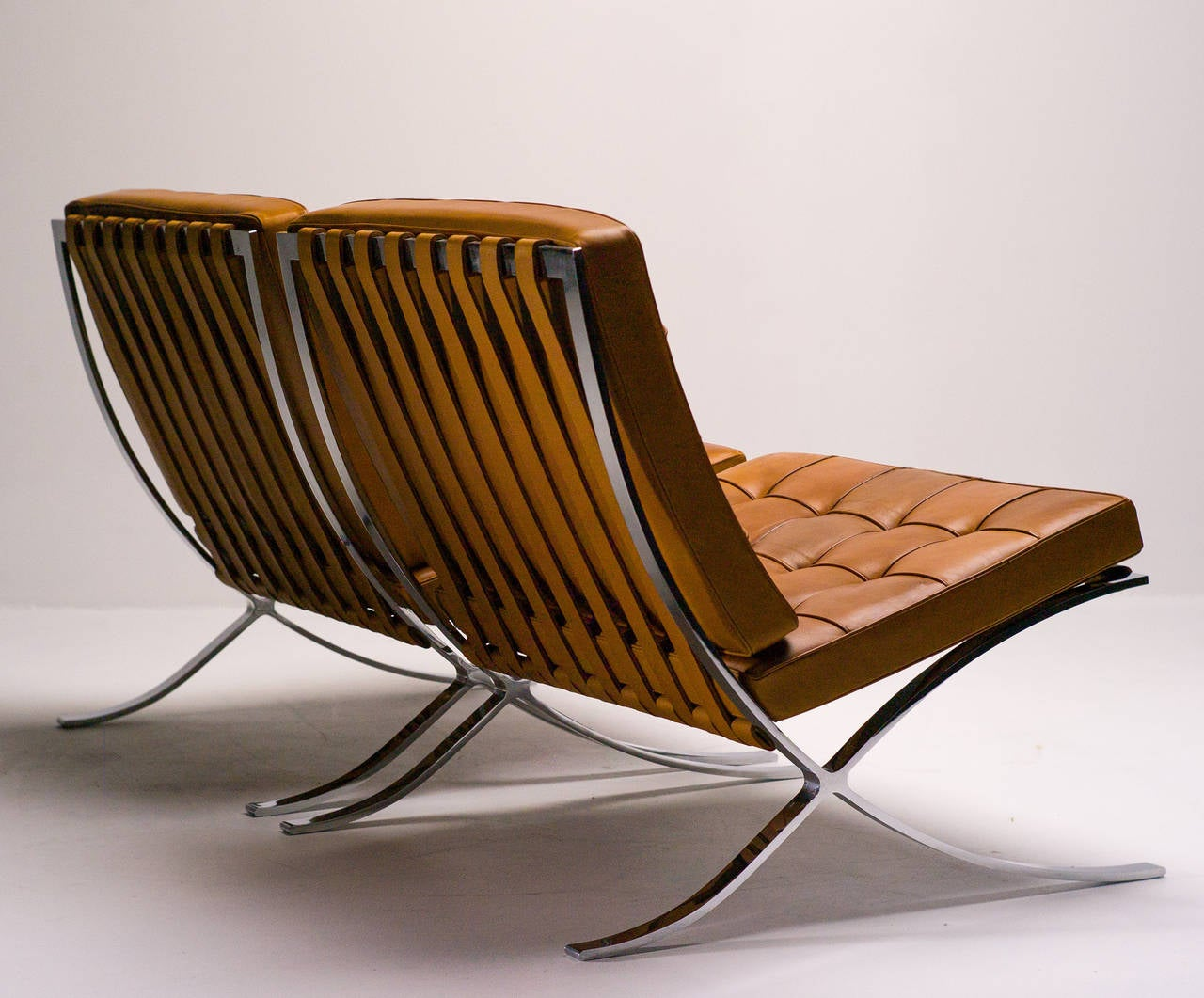 Barcelona Chairs In Saddle Leather By Mies Van Der Rohe For Knoll International At 1stdibs
