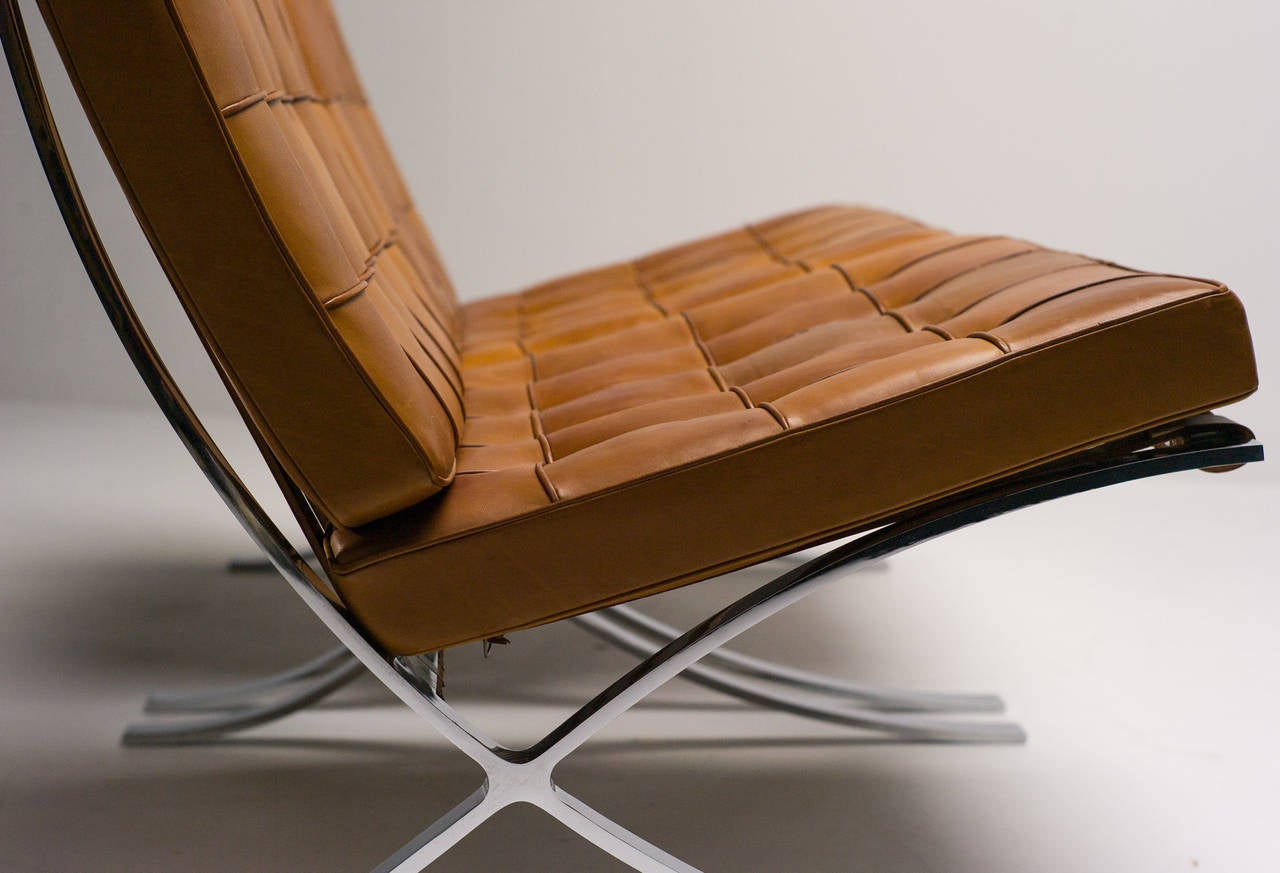 Leather Barcelona Chairs In Saddle Leather By Mies Van Der Rohe For Knoll  International For Sale