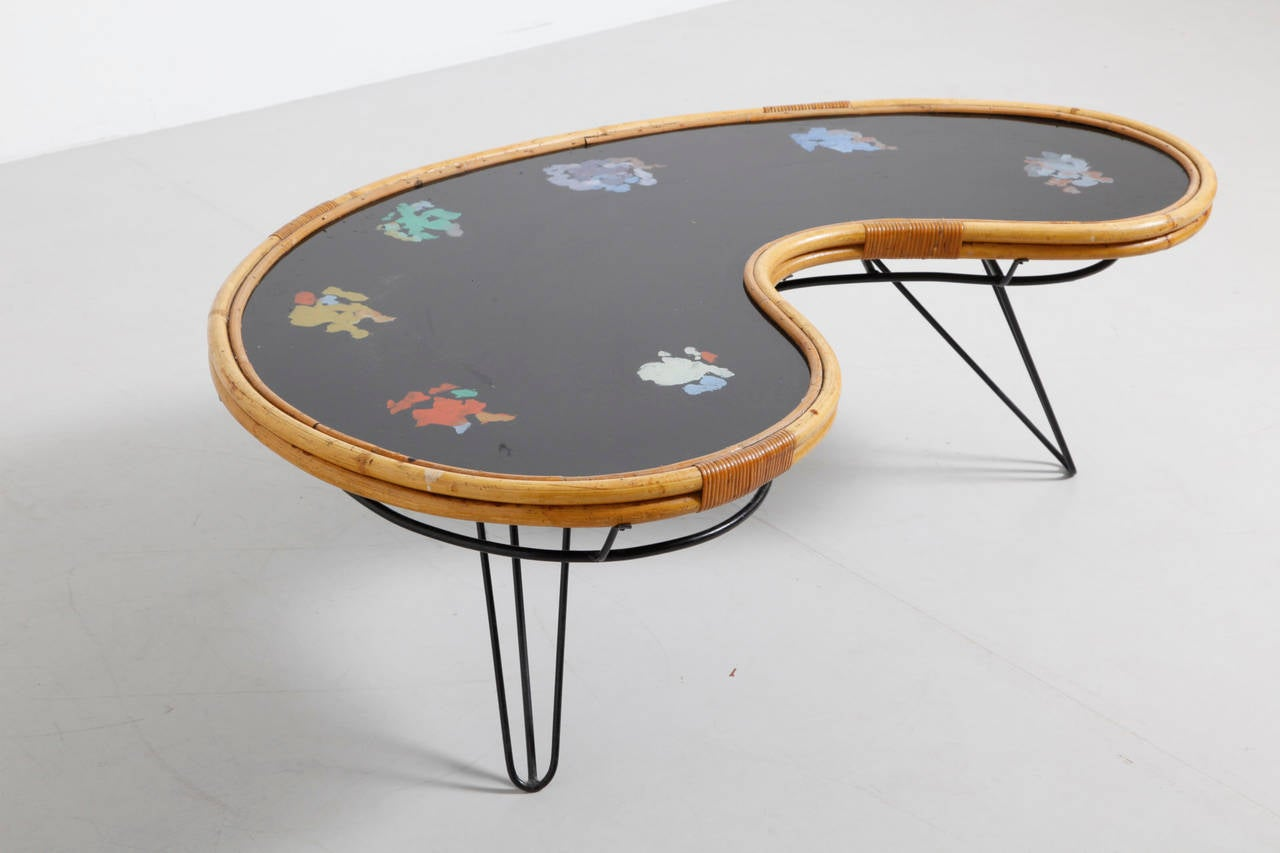 1950s Kidney Bone Bamboo Coffee Table At 1stdibs