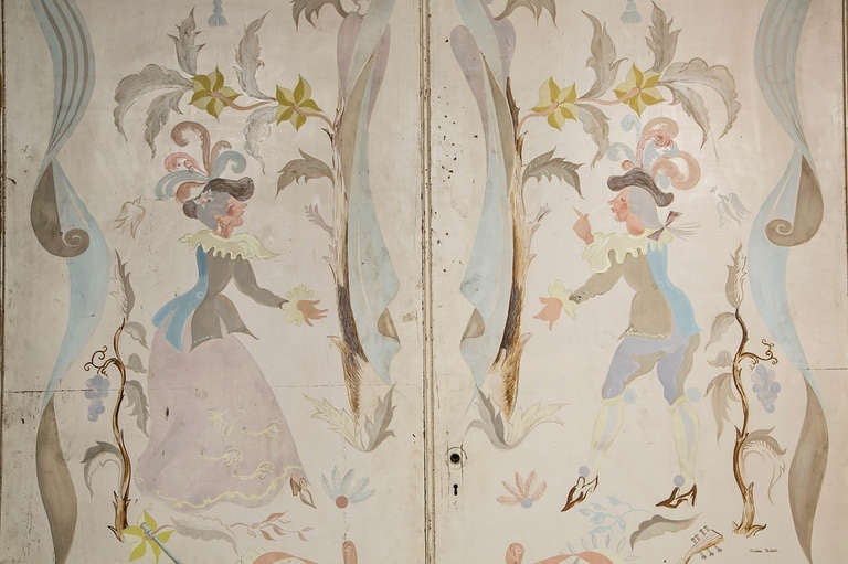 Pair of French 1940s Signed and Hand-Painted Doors After Berard In Fair Condition For Sale In Stamford, CT