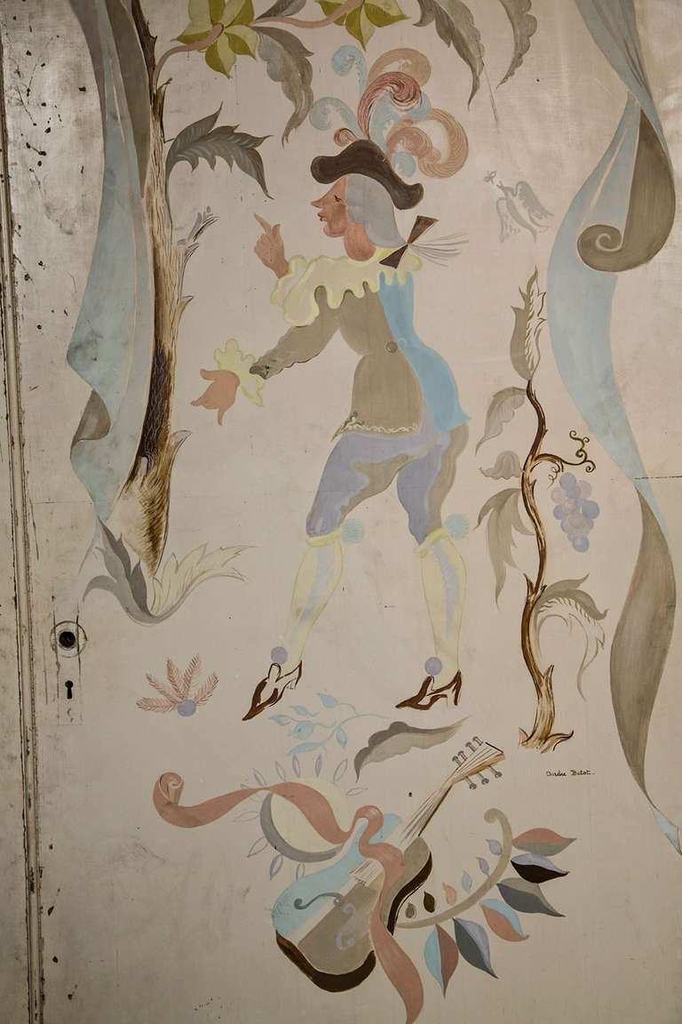 Pair of French 1940s Signed and Hand-Painted Doors After Berard For Sale 1