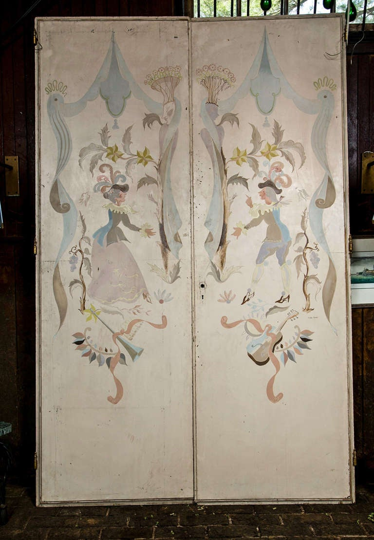 Beautifully painted 1940s doors or panels.